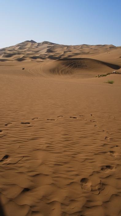 不曉得誰踩出來的腳印,沙漠上就是要腳印啊 >皿<